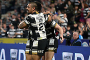 Hull FC outside back Jake Connor (14) scores a try and celebrates  during the Betfred Super League match between Hull FC and Leeds Rhinos at Kingston Communications Stadium, Hull, United Kingdom on 19 April 2018. Picture by Mick Atkins.