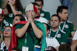 June 27, 2018 - EUM20180627DEP64.JPG.EKATERIMBURGO, Rusia, Soccer/Futbol-Mundial México.- Aficionados, en la Arena de Ekaterimburgo, durante el partido entre la Selección Mexicana y su similar de Suecia, la Arena de Ekaterimburgo, este 27 de junio de 2018, en donde los mexicanos cayeron 3-0; sin embargo, ambas selecciones pasaron a octavos de final de la Copa del Mundo. Foto: Agencia EL UNIVERSAL/Luis Cortés/MAR. (Credit Image: © El Universal via ZUMA Wire)
