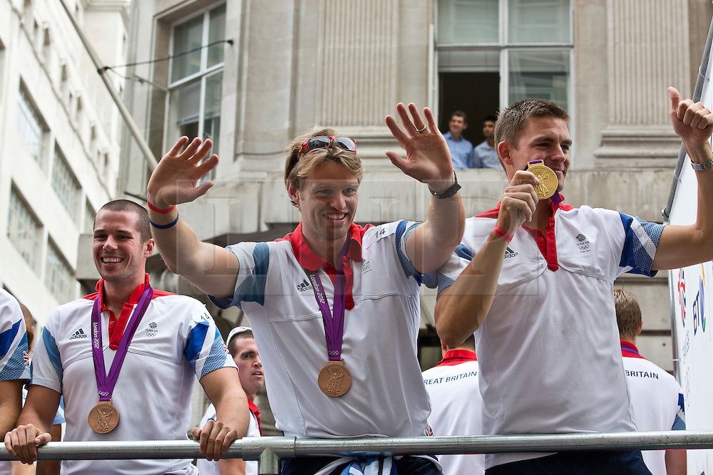 © Licensed to London News Pictures.10/09/2012 LONDON UK.London 2012 Parade of Champions..Olympic and Paralympic  Medalist and  Athelet's from the London2012 Olympic Games are paraded along Fleet St in the Parade of Champions  Photo credit : Andrew Baker/LNP