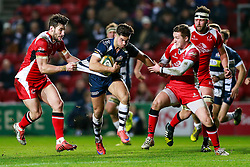 Bristol Rugby Inside Centre Ben Mosses is tackled by Ulster A Inside Centre Sam Windsor - Mandatory byline: Rogan Thomson/JMP - 22/01/2016 - RUGBY UNION - Ashton Gate Stadium - Bristol, England - Bristol Rugby v Ulster A - British & Irish Cup.