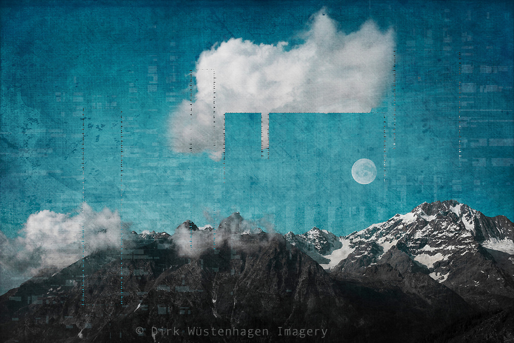 Mountain panorama with moon, clouds and digital effects.<br />