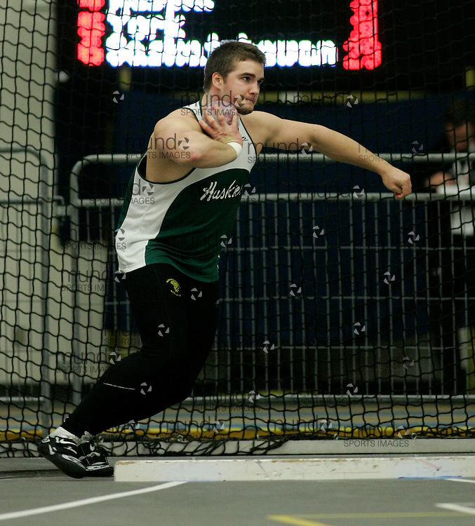 (Windsor, Ontario---13 March 2010) Andrew Smith of University of Saskatchewan   competes in the men's shot put at the 2010 Canadian Interuniversity Sport Track and Field Championships at the St. Denis Center. Photograph copyright Julie Robins/Mundo Sport Images. www.mundosportimages.com