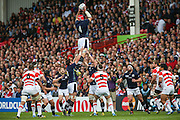 Scotland's Grant Gilchrist wins a line out during the Rugby World Cup Pool B match between Scotland and Japan at the Kingsholm Stadium, Gloucester, United Kingdom on 23 September 2015. Photo by Shane Healey.