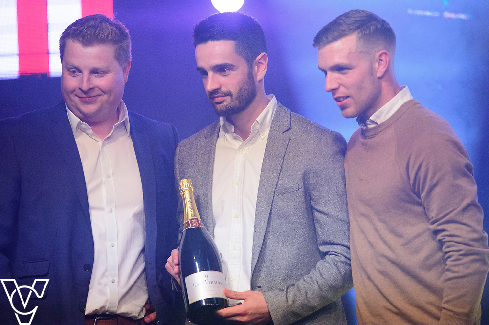 Sam Habergham and Jack Muldoon receive the Champagne moment of the Season award from Adam stocks of Small Beer<br /> <br /> Lincoln City Football Club's 2016/17 End of Season Awards night - Champions Seasons Awards Dinner - held at the Lincolnshire Showground.<br /> <br /> Picture: Andrew Vaughan for Lincoln City Football Club<br /> Date: May 20, 2017 Champions Seasons Awards Dinner: