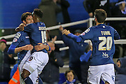 Birmingham City player Kyle Lafferty (25) scores and celebrates during the Sky Bet Championship match between Birmingham City and Brighton and Hove Albion at St Andrews, Birmingham, England on 5 April 2016.