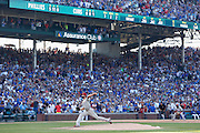 CHICAGO, IL - JULY 25: General view as Cole Hamels #35 of the Philadelphia Phillies delivers the final pitch of his no-hitter against the Chicago Cubs at Wrigley Field on July 25, 2015 in Chicago, Illinois. The Phillies defeated the Cubs 5-0. (Photo by Joe Robbins)