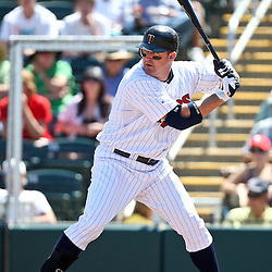 March 13, 2011; Fort Myers, FL, USA; Minnesota Twins first baseman Jim Thome (25) during a spring training exhibition game against the Philadelphia Phillies at Hammond Stadium.   Mandatory Credit: Derick E. Hingle
