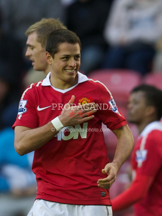 WIGAN, ENGLAND - Saturday, February 26, 2011: Manchester United's Javier Hernandez celebrates scoring the second goal against Wigan Athletic during the Premiership match at the DW Stadium. (Photo by David Rawcliffe/Propaganda)