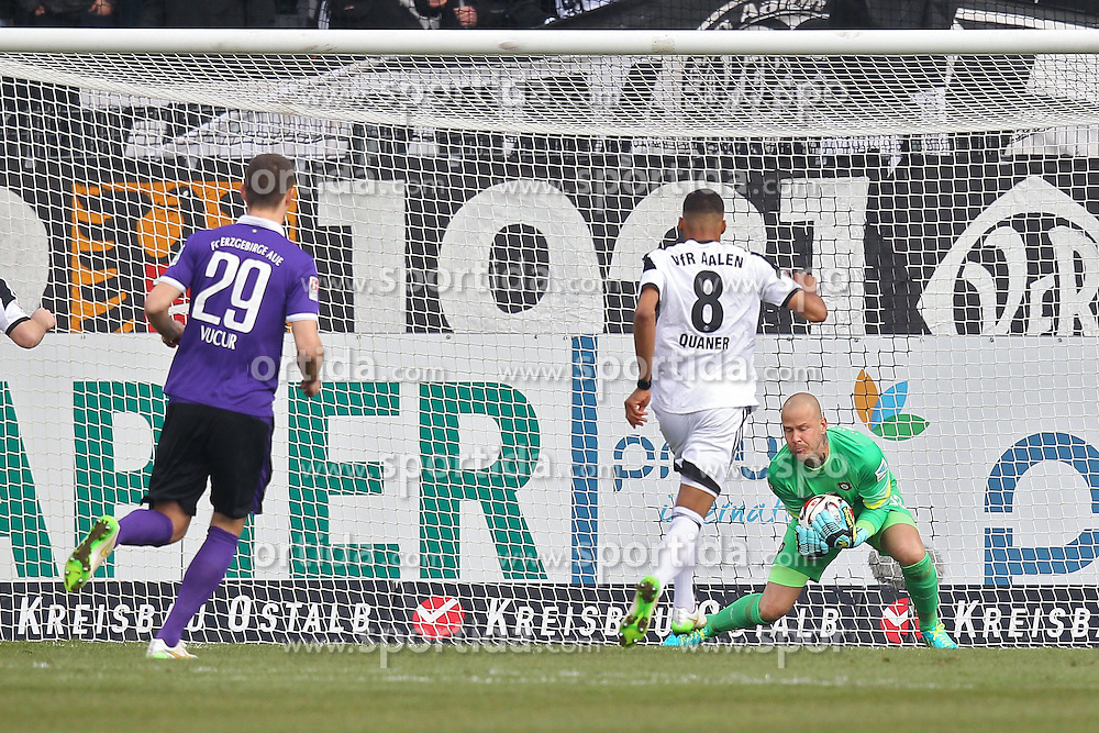 15.03.2015, Esprit-Arena, Aalen, GER, 2. FBL, VfR Aalen vs FC Erzgebirge Aue, 25. Runde, im Bild Collin Quaner (VfR Aalen) rechts Sascha Kirschstein ( FC Erzgebirge Aue ) // during the 2nd German Bundesliga 25th round match between VfR Aalen and FC Erzgebirge Aue at the Esprit-Arena in Aalen, Germany on 2015/03/15. EXPA Pictures &copy; 2015, PhotoCredit: EXPA/ Eibner-Pressefoto/ Langer<br /> <br /> *****ATTENTION - OUT of GER*****