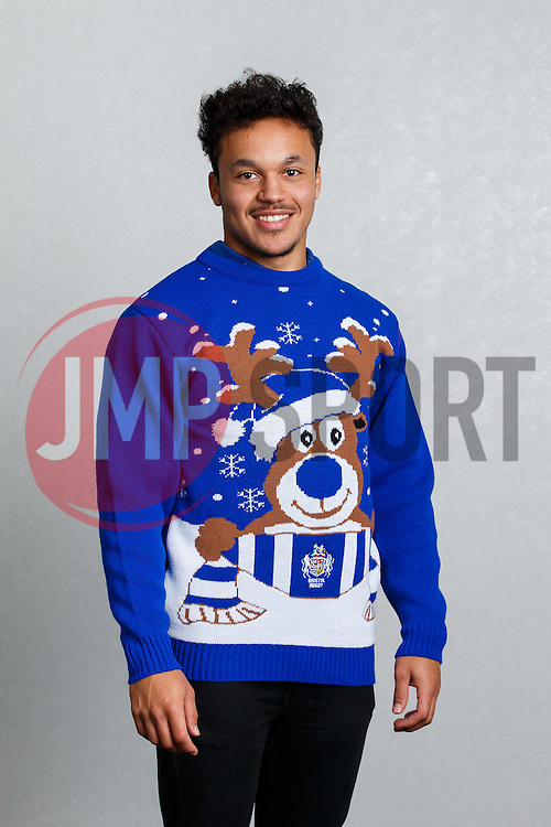 Elias Caven of Bristol Rugby shows off the new Bristol Sport Rugby Christmas Jumper - Mandatory byline: Rogan Thomson/JMP - 12/11/2015 - RUGBY UNION - Ashton Gate Stadium - Bristol, England - Bristol Sport Christmas Jumper Launch.
