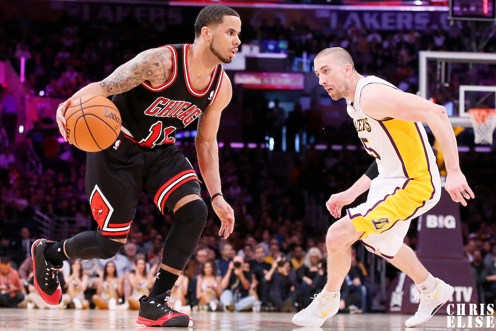 09 February 2014: Chicago Bulls point guard D.J. Augustin (14) drives past Los Angeles Lakers point guard Steve Blake (5) during the Chicago Bulls 92-86 victory over the Los Angeles Lakers at the Staples Center, Los Angeles, California, USA.