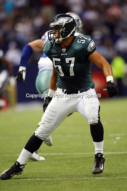 IRVING, TX - SEPTEMBER 15:  Linebacker Chris Gocong #57 of the Philadelphia Eagles makes a move at the snap during the game against the Dallas Cowboys at Texas Stadium on September 15, 2008 in Irving, Texas. The Cowboys defeated the Eagles 41-37. ©Paul Anthony Spinelli *** Local Caption *** Chris Gocong