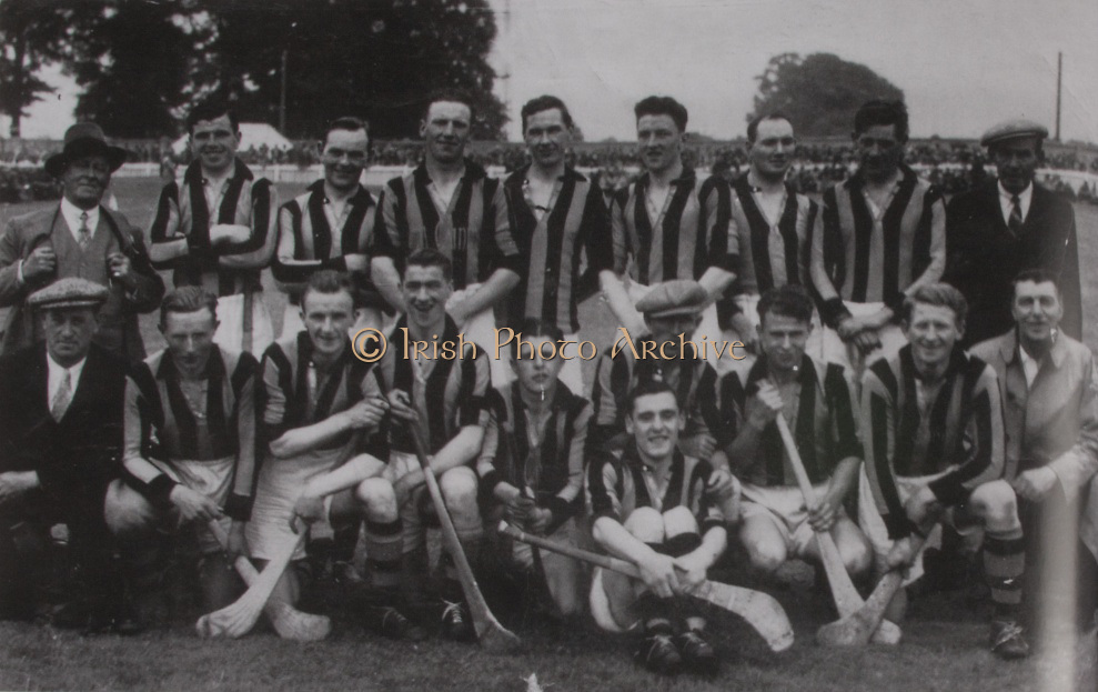 Kilkenny All-Ireland Hurling Champions 1939. Back: Peter Blanchfield, Paddy Phelan, Paddy Grace, Paddy Larkin, Terry Leahy, Jimmy Walsh (capt), Billy Burke, Jimmy Kelly. Middle Row: Mick Dalton (Trainer), Jimmy O'Connell, Jack Gargan, Sean O'Brien, Jimmy Phelan, Bobbie Hinks, Mick Oaks (Trainer). Front Row: Mattie Power, Jim Langton,  Jack Mulcahy.