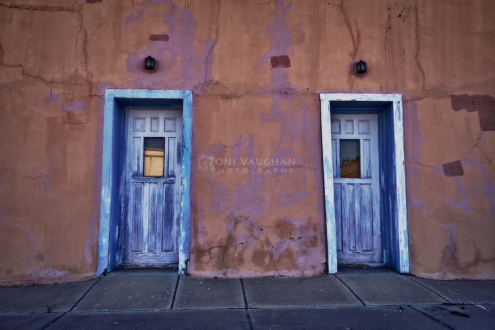 Two blue doors in historic Florence, Arizona
