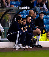 Photo: Jed Wee.<br />Leeds United v Southend United. Coca Cola Championship. 28/10/2006.<br /><br />Leeds' assistant manager Gus Poyet (L) hugs manager Dennis Wise after their first match in charge ends in a 2-0 win.