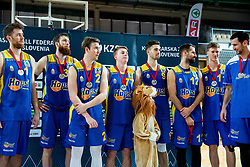 Players of Hopsi Polzela after losing during basketball match between KK Sixt Primorska and KK Hopsi Polzela in final of Spar Cup 2018/19, on February 17, 2019 in Arena Bonifika, Koper / Capodistria, Slovenia. KK Sixt Primorska won the game and became Slovenian Cup Champion 2019. Photo by Vid Ponikvar / Sportida