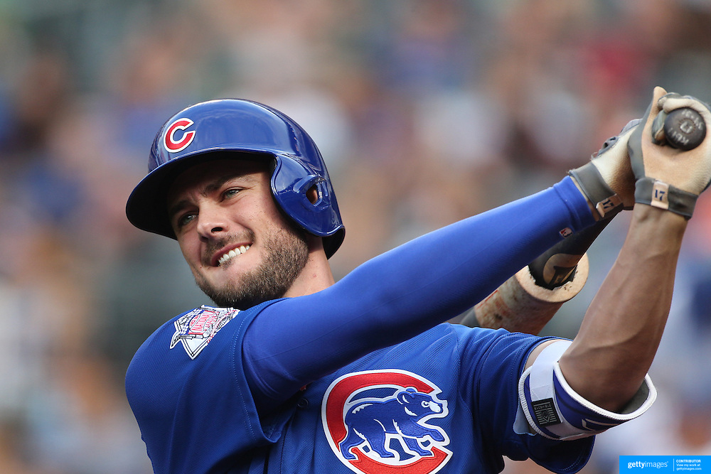 NEW YORK, NEW YORK - July 01: Kris Bryant #17 of the Chicago Cubs preparing to bat during the Chicago Cubs Vs New York Mets regular season MLB game at Citi Field on July 01, 2016 in New York City. (Photo by Tim Clayton/Corbis via Getty Images)