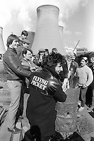 3 members of the singing group The Flying Pickets join miner's pickets at Drax Power Station during the 1984-85 miners strike. April 1984.
