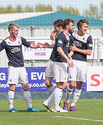 Falkirk's Conor McGrandles celebrates after scoring their second goal.<br /> half time : Falkirk 2 v 1 Raith Rovers, Scottish Championship game played today at The Falkirk Stadium.<br /> &copy; Michael Schofield.