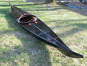 Construction photographs of a traditional Greenland-style skin-on-frame kayak.
