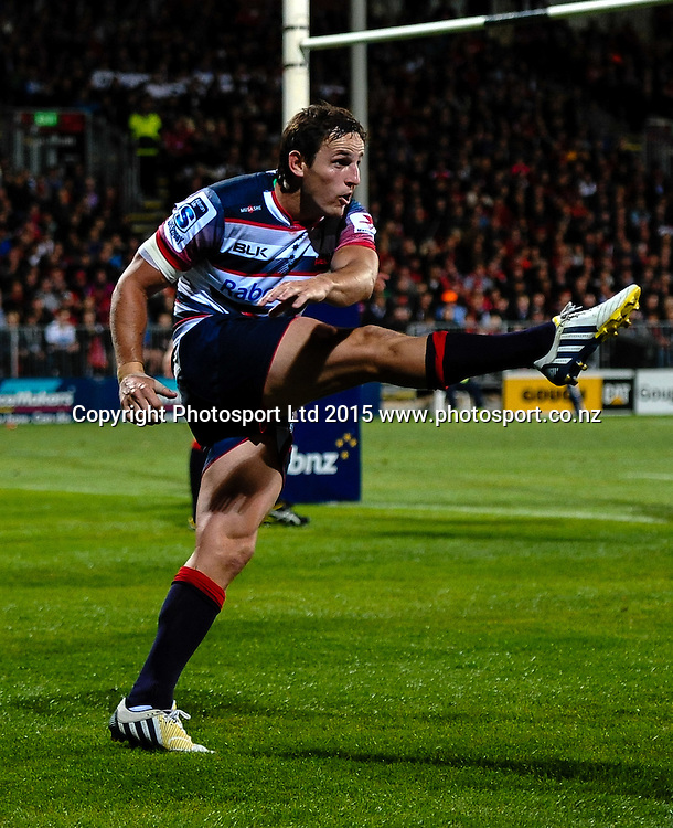 Mike Harris of the Rebels in the Super Rugby match, Crusaders v Rebels at AMI Stadium, Christchurch, New Zealand 13 February 2015. Photo:John Davidson/www.photosport.co.nz