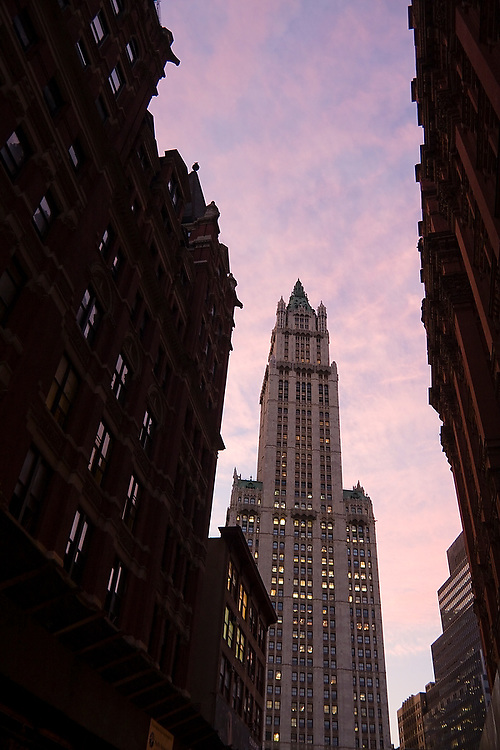 Woolworth Building rises a dramatic 792 feet from the street in New York City, New York on October 14, 2008. Listed as a National Historic Landmark, the skyscraper is the 44th tallest in the United States, and the 148th tallest in the world.