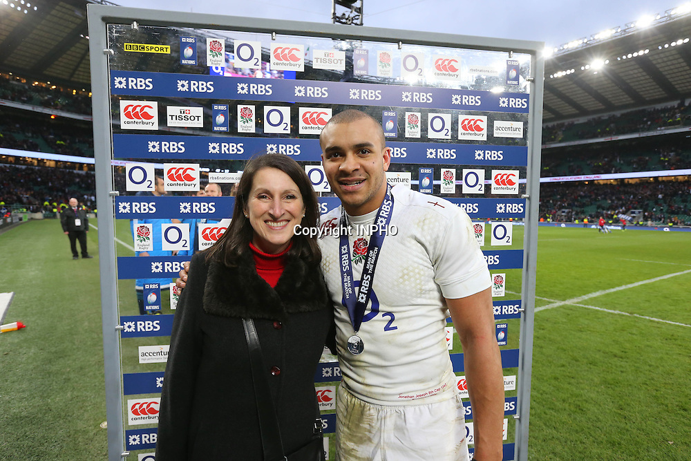 RBS 6 Nations Championship, Twickenham Stadium, London 14/2/2015<br /> England vs Italy <br /> Karen Lintott presents England's Jonathan Joseph with the RBS 6 Nations Man of the match award  <br /> Mandatory Credit &copy;INPHO/Cathal Noonan