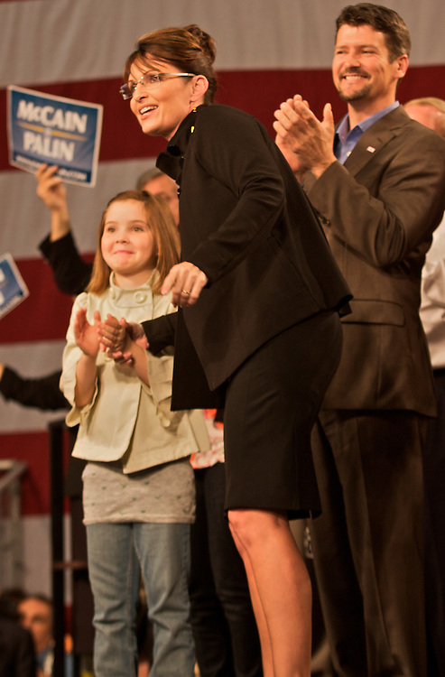 Daughter, Piper with husband, Todd, at a Republican party rally for Sarah Palin at the Fairbanks International Airport upon her return to Alaska after being named John McCain's Vice President running mate, September 10, 2008