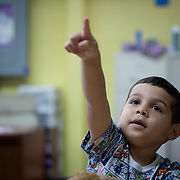 JULY 20, 2018---YABUCOA, PUERTO RICO----<br /> Keydiel Vasquez, 5,  points to a blackboard inside a classroom of the Marta Sanchez Alverio school he attends. <br /> (Photo by Angel Valentin/Freelance)