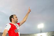 ROTTERDAM, Feyenoord - PSV, voetbal Eredivisie, seizoen 2013-2014, 01-12-2013, Stadion de Kuip, Feyenoord speler Joris Mathijsen is blij met de overwinning.