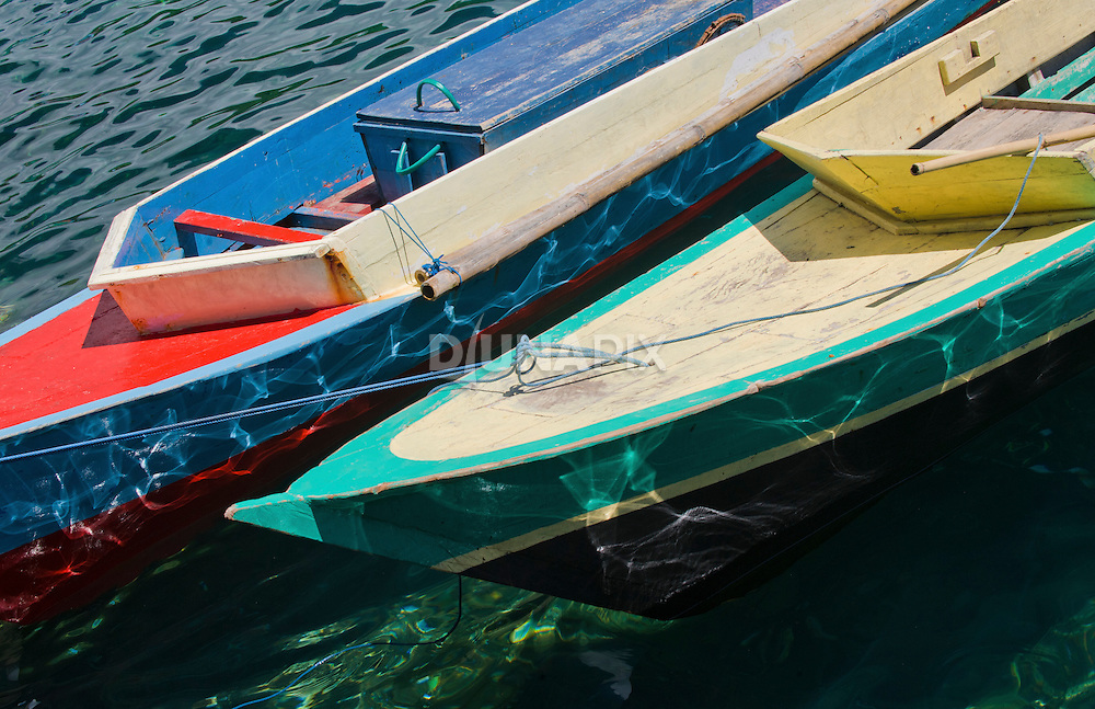 Colorfully painted boats.