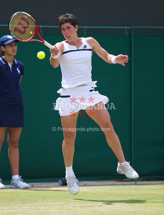 LONDON, ENGLAND - Monday, July 1, 2013: Carla Suarez Navarro (ESP) during the Ladies' Singles 4th Round match on day seven of the Wimbledon Lawn Tennis Championships at the All England Lawn Tennis and Croquet Club. (Pic by David Rawcliffe/Propaganda)