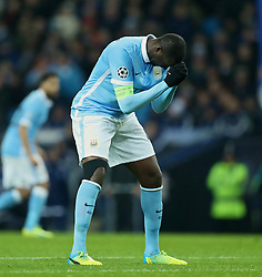 MANCHESTER, ENGLAND - Tuesday, March 15, 2016: Manchester City's Yaya Toure looks dejected after missing a chance against FC Dynamo Kyiv during the UEFA Champions League Round of 16 2nd Leg match at the City of Manchester Stadium. (Pic by David Rawcliffe/Propaganda)