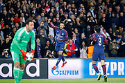 Neymar da Silva Santos Junior - Neymar Jr (PSG) scored a goal and celebrated it by a jump in the air, Edinson Roberto Paulo Cavani Gomez (psg) (El Matador) (El Botija) (Florestan), Frank Boeckx (RSC Anderlecht) during the UEFA Champions League, Group B, football match between Paris Saint-Germain and RSC Anderlecht on October 31, 2017 at Parc des Princes stadium in Paris, France - Photo Stephane Allaman / ProSportsImages / DPPI
