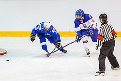Breznik Tamara of Slovenia and Bloom Jodie-leigh of Great Britain during hockey match between Slovenia and Great Britain in IIHF World Womens Championship, Division II, Group A, on April 4, 2018 in Ledena dvorana Maribor, Maribor, Slovenia. Photo by Ziga Zupan / Sportida