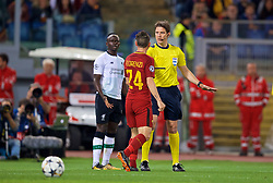 ROME, ITALY - Wednesday, May 2, 2018: AS Roma's Alessandro Florenzi clashes with Liverpool's Sadio Mane as the referee intervenes during the UEFA Champions League Semi-Final 2nd Leg match between AS Roma and Liverpool FC at the  Stadio Olimpico. (Pic by David Rawcliffe/Propaganda)
