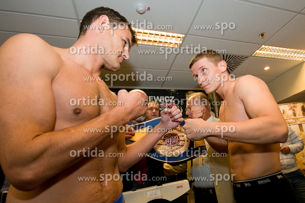 Denis Simcic of Slovenia and Istan Varga of Romunia at official weighing 1 Day before IBF World Champion title fight, on September 3, 2010, in Hotel Lev, Ljubljana, Slovenia. (Photo by Matic Klansek Velej / Sportida)