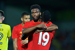 BURTON-UPON-TRENT, ENGLAND - Tuesday, August 23, 2016: Liverpool's Daniel Sturridge celebrates scoring the fifth goal against Burton Albion during the Football League Cup 2nd Round match at the Pirelli Stadium. (Pic by David Rawcliffe/Propaganda)