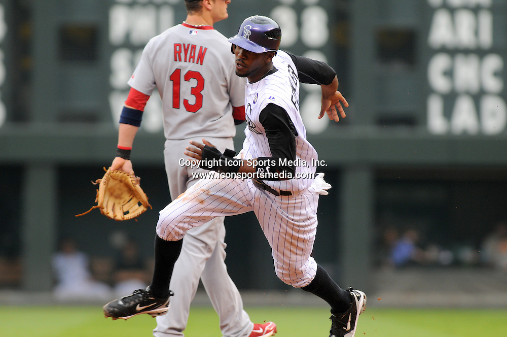 08 JULY 2010: Colorado Rockies center fielder Dexter Fowler (24) during a regular season Major League Baseball game between the Colorado Rockies and the St. Louis Cardinals at Coors Field in Denver, Colorado. The Rockies beat the Cardinals 4-2.  *****For Editorial Use Only*****