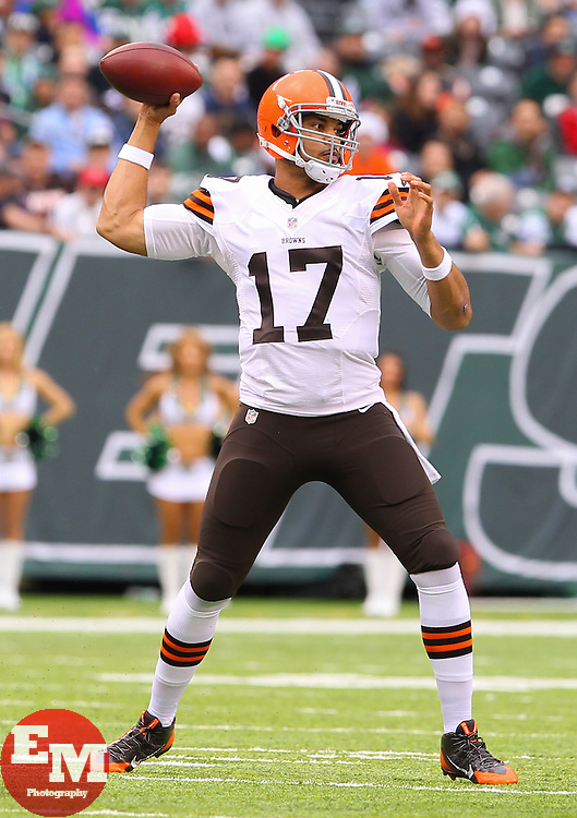 Dec 22, 2013; East Rutherford, NJ, USA; Cleveland Browns quarterback Jason Campbell (17) throws a pass during the first half of their game against the New York Jets at MetLife Stadium.