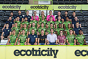 Sponsors with 1st Team  during the official team photocall for Forest Green Rovers at the New Lawn, Forest Green, United Kingdom on 29 July 2019.