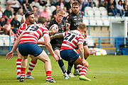 Bradford Bulls scrum half Cory Aston (41) is stopped during the Kingstone Press Championship match between Oldham RLFC and Bradford Bulls at Bower Fold, Oldham, United Kingdom on 13 August 2017. Photo by Simon Davies.