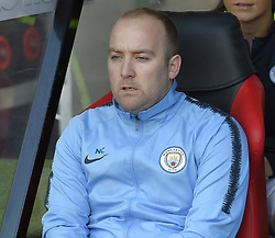 February 23, 2019 - Sheffield, England, United Kingdom - Tense moments in the dug out for Nick Cushing, Manchester City's manager during the  FA Women's Continental League Cup Final  between Arsenal and Manchester City Women at the Bramall Lane Football Ground, Sheffield United FC Sheffield, Saturday 23rd February. (Credit Image: © Action Foto Sport/NurPhoto via ZUMA Press)