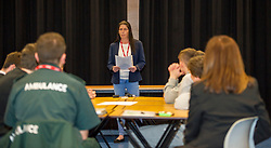 Pictured: Bradley Williams aunt Louise Lothain spoke movingly about how Bradely died shortly after she had been chatting to him<br /> <br /> Police Scotland visited Craigroyston High Schoolto today to host motorcycle safety seminar at the secondary school. The event looked at motorbike/vehicle misuse and the consequences involved after 50 students from the school were identified as potentially being involved in such activities. One of the school's 14 year old pupils, Bradley Williams died recently in a motorcycle accident recently and some of his relatives were their to plead with the students to be aware of the dangers of going on bikes with out the appropriate training and licences.<br /> Ger Harley | EEm 27 April 2017