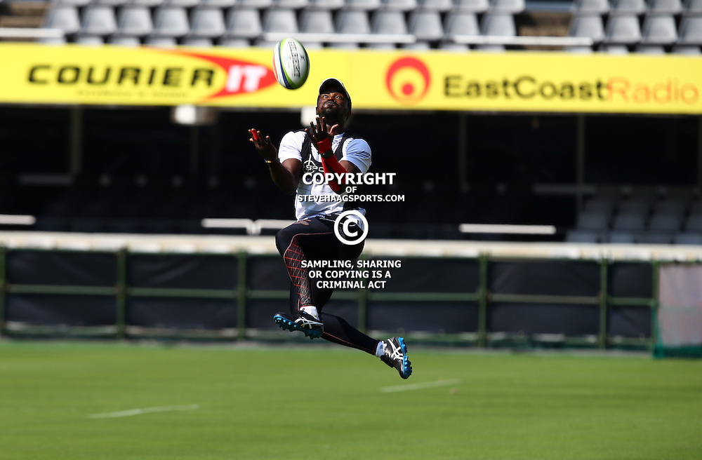DURBAN, SOUTH AFRICA, 25,MARCH, 2016 - Lwazi Mvovo during The Cell C Sharks Captain session at Growthpoint Kings Park in Durban, South Africa. (Photo by Steve Haag)<br /> <br /> images for social media must have consent from Steve Haag