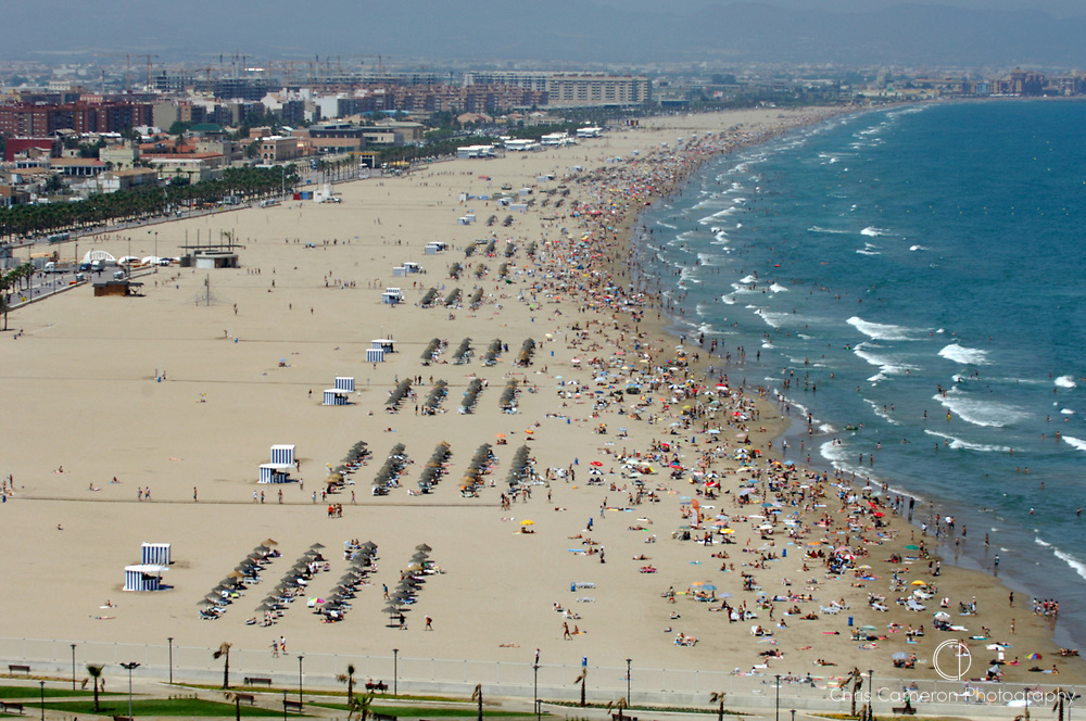 Aerial of Valencia beach, Spain.