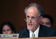 Senator Ted Kaufman D DE  asks a question at a hearing on Goldman Sachs before the Senate Subcommittee on Homeland Security and Government Affirs. Photograph by Dennis Brack
