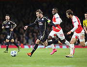 Dinamo Zagreb's Captain Domagoj Antolic with a rare chance during the Champions League match between Arsenal and Dinamo Zagreb at the Emirates Stadium, London, England on 24 November 2015. Photo by Matthew Redman.