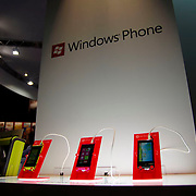Windows Phone handsets are shown at the Tokyo Game Show 2011 in Chiba, Japan, Friday, September 16, 2011. (Albert Siegel)