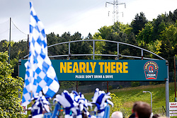A 'Nearly There' stadium sign outside the John Smith's Stadium as fans arrive - Mandatory by-line: Matt McNulty/JMP - 14/05/2017 - FOOTBALL - The John Smith's Stadium - Huddersfield, England - Huddersfield Town v Sheffield Wednesday - Sky Bet Championship Play-off Semi-Final 1st Leg